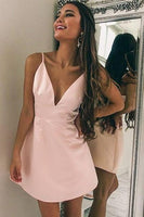 A-Line Spaghetti Straps Pink Elastic Satin Short Homecoming Dress cg382