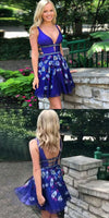 Floral Royal Blue Homecoming Dress, Short Open Back homecoming Dress with Beading cg387
