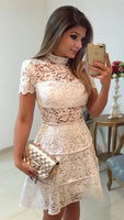 A-Line High Neck Short Sleeves Above-Knee White Lace Homecoming Dress cg389