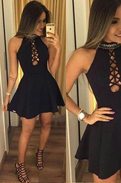 Black Halter A-line Homecoming Dress, Short homecoming Dress, Simple Party Dress cg391