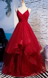 Elegant Tulle Red Straps Prom Dress, A Line Prom Dresses, Long Evening Dress , burgundy prom dress cg392