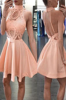 High Neck Short Apricot Homecoming Dress with Lace Backless cg395