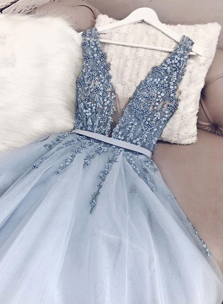 Blue v neck tulle beads long prom dress, evening dress cg397