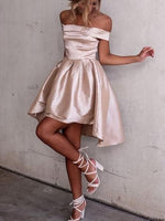 Champagne Dress Chic Off The Shoulder A-line Light Champagne Short Dress , Homecoming Dress cg39