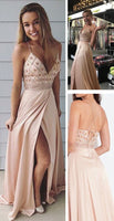 Straps V Neck Beads Long Prom Dress with Side Slit cg400