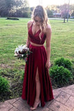 two piece burgundy long prom dresses, 2020 burgundy prom dresses with slit  cg4017