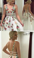 A-Line Deep V-neck Embroidery Long Lace Prom Dresses cg402