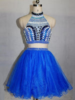 Blue Two Pieces High Neck Beaded Homecoming Dresses Short Cocktail Dresses cg413