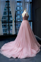 Pink Tulle Beaded Sequins Train V Neck Prom Dress, Pearl Evening Gown cg415
