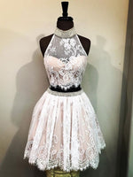 Cheap Halter Two Piece Cute Lace Homecoming Dresses cg418