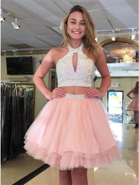 Cute Halter Two Piece Beaded Short Pink Homecoming Dresses cg419