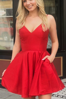 Sexy Red Satin Mini Party Dress, Short homecoming Dress, Red Cocktail Dress cg424