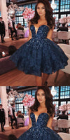 Dark Blue V-neck Pearl Lace Homecoming Dresses,Cheap Short homecoming Dresses cg426