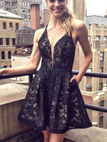 A-Line Deep V-Neck Short Black Lace Homecoming Dress with Pockets cg427