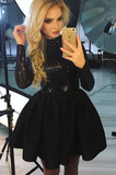 A-Line Jewel Long Sleeves Black Homecoming Dress with Sequin cg428
