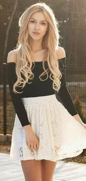 Two Piece Ivory Lace Long Sleeves Homecoming Dress ,Short homecoming Dresses cg429