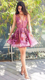 A-Line V-Neck Short Purple Tulle Homecoming Dress with Appliques cg430