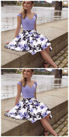 Cold Shoulder Two Piece A-Line Floral Print Short homecoming Dress cg431