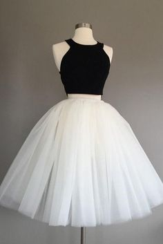 black and white homecoming dresses, two pieces homecoming dress,cute party dresses cg434