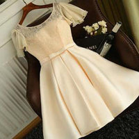 Elegant A-Line Jewel Cap Sleeves Short Homecoming Dress With Lace cg435