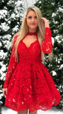 vintage red lace short homecoming dresses, long sleeve knee length homecoming dress for teens, long sleeve homecoming dress cg436