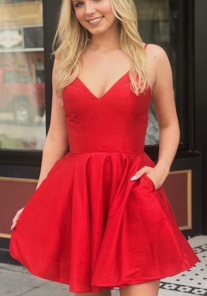 Sexy Red Satin Mini Party Dress, Short homecoming Dress, Red Cocktail Dress cg437