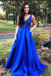 2019 A Line Prom Dresses V Neck Satin With Beads&Sequins cg4396