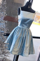 Blue Sleeveless A Line Satin Short Homecoming Dresses With Sequin cg439