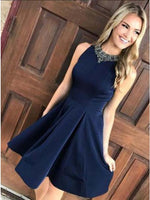 A-Line Jewel Dark Blue Short Homecoming Dress with Appliques cg443