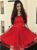 A-Line Off-the-Shoulder Short Red Homecoming Party Dress ,cheap homecoming dress cg444