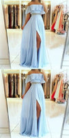 A line off shoulder split front blue chiffon prom dress with beading belt cg446