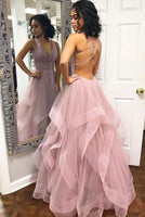 Simple pink tulle long prom dress, pink tulle evening dress cg448