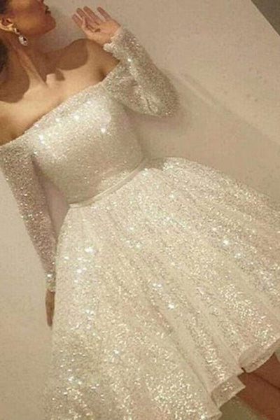 Stunning Beading Off the Shoulder Long Sleeves homecoming Dress cg44