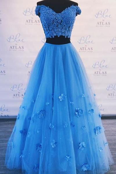 Two Piece Blue Prom Dress Off-The-Shoulder A Line Long Graduation Gown  cg453