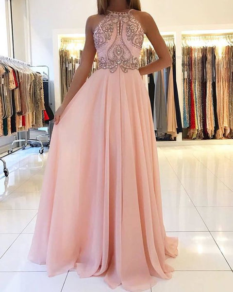 Blush Pink Halter Chiffon Open Back Long Prom Dress,Formal Gown With Beaded Top cg454