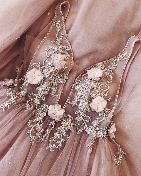 A-Line V-neck Backless Sweep Train Pink Prom Dress with Beading Flowers cg455