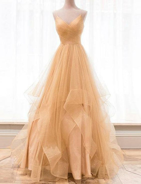 Custom made gold v neck tulle long prom dress, evening dress cg456