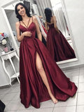 Chic Burgundy Spaghetti Strap Side Slit Backless Long Evening Prom Dresses cg458