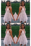 Pink A-Line Spaghetti Strap Short Graduation Dress, Homecoming Party Dress,cute homecoming dress cg46