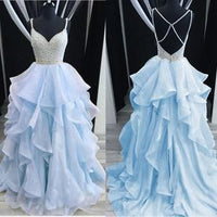 Spaghetti Straps Rhinestones Tiered Skirt Hi-Lo Backless Prom Dresses Evening Gowns Dress  cg461