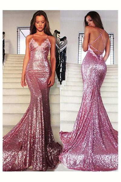 Spaghetti Straps pink sequin prom dress ,modest prom dress  cg462