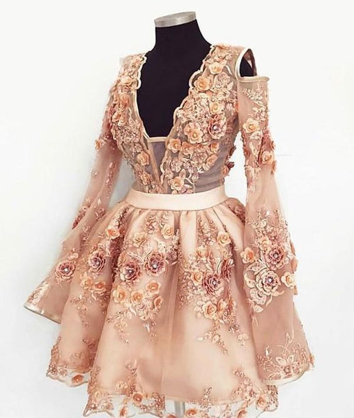 Cute champagne lace applique short homecoming dress cg463