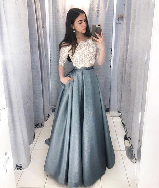 Unique lace two pieces long prom dress, lace evening dress cg466