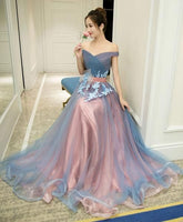 Gray blue tulle off shoulder long prom dress, gray blue evening dress cg467