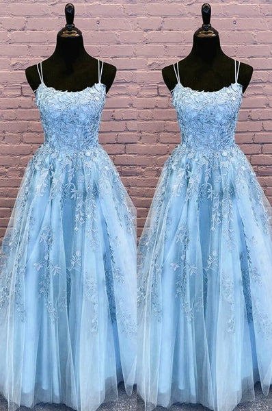 long cinderella blue prom dress