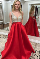 2019 red long prom dress with pockets, red prom dress with silver sequins top cg468