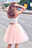 Spaghetti Straps Two Piece Blush Pink Homecoming Dress, Short Party Dress cg47