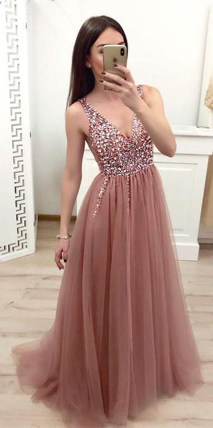 Sparkly V-Neck Beaded Long Prom Dress Fahion Beadings Evening Party Dress Custom Made Tulle Beads School Dance Dresses cg470