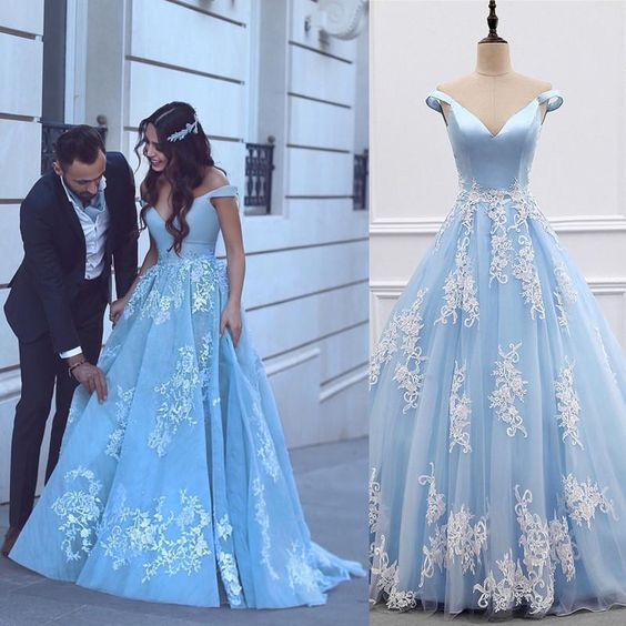 Light Blue Tulle Ball Gowns Prom Dresses Lace Appliques Off Shoulder  cg472