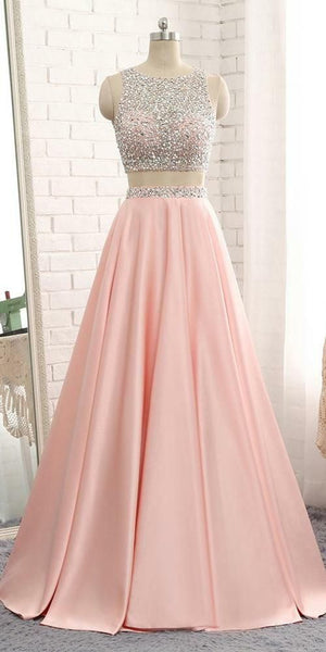 2 Pieces Beaded Prom Gowns 2019 Custom Made Sequins Open Back Graduation Party Dress Fashion Long Two Pieces School Dance Dress  cg4741
